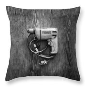 Porter Cable Drill On Plywood 76 In Bw Throw Pillow