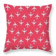 747 Jumbo Jet Airliner Aircraft - Crimson Throw Pillow