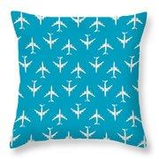 747 Jumbo Jet Airliner Aircraft - Cyan Throw Pillow