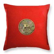 Gold Bitcoin Effigy Over Red Canvas Throw Pillow