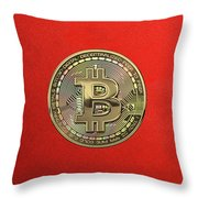 Gold Bitcoin Effigy Over Red Canvas Throw Pillow