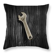 Adjustable Wrench Over Black And White Wood 72 Throw Pillow