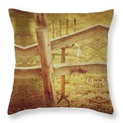 Spading Fork On Chicken Wire Fence Morning Sunlight Throw Pillow