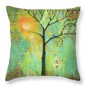 Hello Sunshine Tree Birds Sun Art Print Throw Pillow