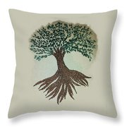 Embroidered Tree Throw Pillow