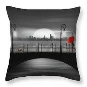 Summer Rain At The Bridge Throw Pillow
