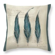 3 Feathers And Quote Throw Pillow