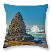 Rock Stack On The Costa Viicentina, Portugal Throw Pillow