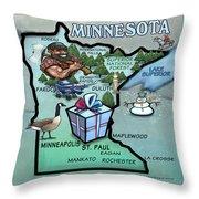 Minnesota Cartoon Map Throw Pillow