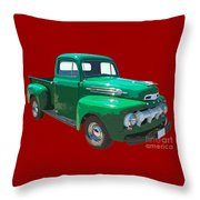 Green 1951 Ford F-1 Pick Up Truck Illustration  Throw Pillow