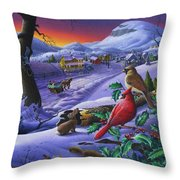 Christmas Sleigh Ride Winter Landscape Oil Painting - Cardinals Country Farm - Small Town Folk Art Throw Pillow