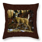 Whitetail Deer - Alerted Throw Pillow by Crista Forest