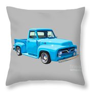 1955 Ford F100 Blue Pickup Truck Canvas Throw Pillow