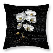 Dew-kissed Cascading Orchids Throw Pillow