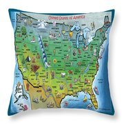 Usa Cartoon Map Throw Pillow