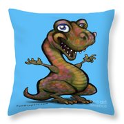 Baby T-rex Blue Throw Pillow