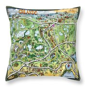 Orlando Florida Cartoon Map Throw Pillow