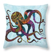 Electric Octopus Throw Pillow by Tammy Wetzel