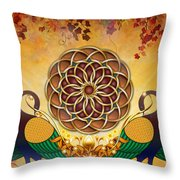 Autumn Serenade - Mandala Of The Two Peacocks Throw Pillow by Bedros Awak