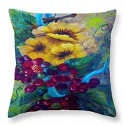 Too Delicate For Words - Yellow Flowers And Red Grapes Throw Pillow