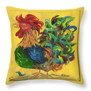 Plucky Rooster  Throw Pillow