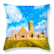 Irish Monastic Ruins Of Ross Errilly Friary Throw Pillow