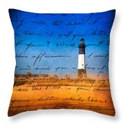 Tybee Island Lighthouse - A Sentimental Journey Throw Pillow by Mark E Tisdale