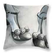 Black And White T Strap Shoe Painting Throw Pillow by Beverly Brown