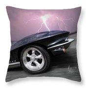 1966 Corvette Stingray With Lightning Throw Pillow