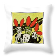 Roadside Rabbits Throw Pillow