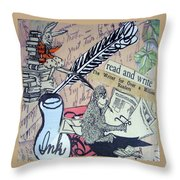 The Studious Rabbit And The Monkey Throw Pillow