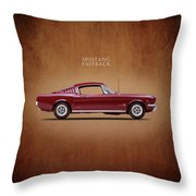 Ford Mustang Fastback 1965 Throw Pillow by Mark Rogan