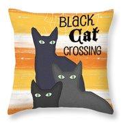 Black Cat Crossing Throw Pillow