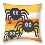 Halloween Spiders Sign Throw Pillow by Linda Woods