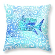 Swirly Shark Throw Pillow