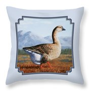 Brown Chinese Goose Throw Pillow by Crista Forest