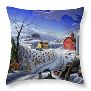 Folk Art Winter Landscape Throw Pillow