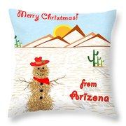 Arizona Tumbleweed Snowman Throw Pillow