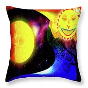 Great Sun Jester And The Night Sky Throw Pillow