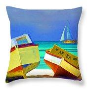 Aruba Boats Throw Pillow