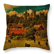 Arundel Castle With Cows Throw Pillow