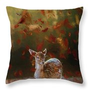 As The Leaves Fall - Painting Throw Pillow