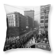 Asahel Curtis, 1874-1941, Draft Parade, Seattle Throw Pillow