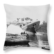 Asahel Curtis, 1874-1941, Launching Of The Minnie A. Cain Throw Pillow