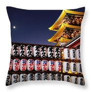 Asakusa Kannon Temple Pagoda And Lanterns At Night Throw Pillow by Christine Till