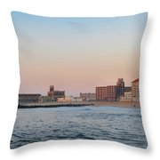 Asbury Park Boardwalk From The Beach Throw Pillow