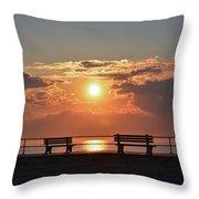 Asbury Park Boardwalk Sunrise Throw Pillow