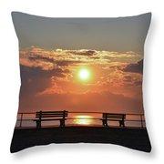 Asbury Park On The Boardwalk At Sunrise Throw Pillow