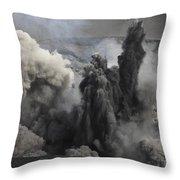 Ash Cloud Eruption On Yasur Volcano Throw Pillow