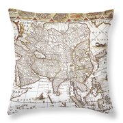 Asia: Map, C1618 Throw Pillow